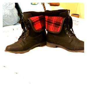 Red plaid boots